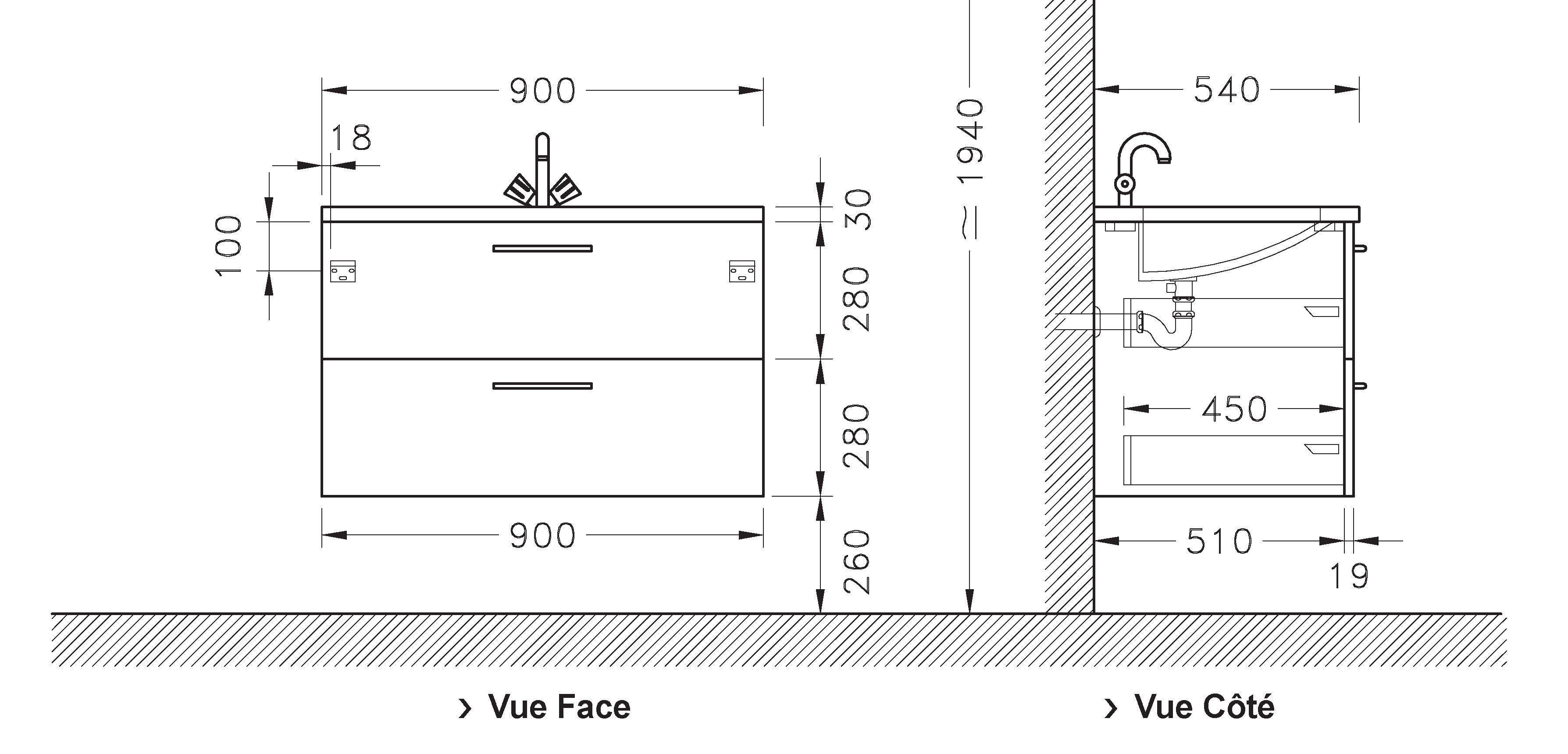 Meuble sous vasque LOFT 2 tiroirs de 90 cm